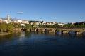 City and Romanesque bridge Mirandela, Royalty Free Stock Photo