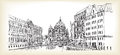 City scape in Germany. Berlin Cathedral. Old building hand drawn