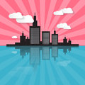 City scape illustration evening morning Royalty Free Stock Photo