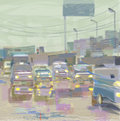 City scape in rain hand drawn blurred illustration of a and cars a rainy weather concept of modern Stock Image