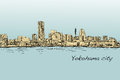City scape skyline of Yokohama in Japan free hand drawing, vecto