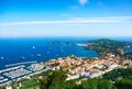 City and the sea in nice france panorama of bay with ships boats mediterranean Stock Photos