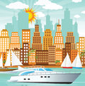 City and sea vector illustration of port town with boats Royalty Free Stock Photography