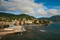 The city on seacoast italian of recco mediterranean sea Royalty Free Stock Photos