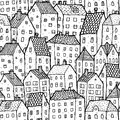 City seamless pattern in balck and white is repetitive texture with hand drawn houses illustration is eps mode Royalty Free Stock Images