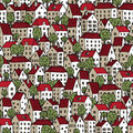 City seamless pattern in colours with trees is repetitive texture hand drawn houses illustration is eps mode Stock Photo