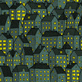 City seamless pattern at night is repetitive texture with hand drawn houses illustration is in eps mode Stock Photography