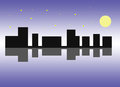 City see night moonlight Royalty Free Stock Photos