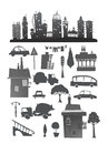 City set with buildings cars and signs illustration Stock Photos