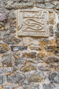 City sign of budva on stone wall background montenegro Royalty Free Stock Images