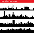 City silhouette set Royalty Free Stock Images