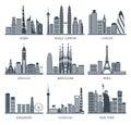 City skyline black icons set Royalty Free Stock Photo