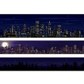 City skyline collection of night skyline illustrations Stock Photo