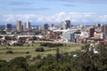 City skyline golf course and race track durban south africa march above view royal durban greyville horse racing in durban south Stock Photos