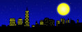 City skyline illustration an of a at night stars twinkle in the night blue sky while the moon glows brightly light glows through Stock Images