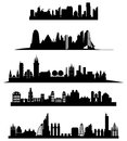 City skyline set of illustrations in black Stock Images