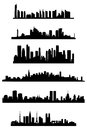 City skyline set of illustrations in black color Royalty Free Stock Photography