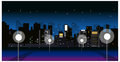 City skyline with street light at night Stock Photography