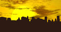 City skyline at sunset lower manhattan silhouette as seen from the borough of brooklyn during of course this could just as well be Royalty Free Stock Photography