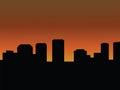 City skyline at sunset or sunrise.