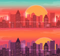 City Skylines urban landscape. Sunrise and sunset. Vector Royalty Free Stock Photo