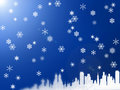 City on the snow illustration of town under blue background Royalty Free Stock Photo