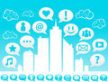 City Social media Icons Stock Image