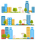 City street, flat design, housing, neighborhood. vector illustration. Royalty Free Stock Photo