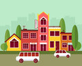 City street flat design vector illustration Royalty Free Stock Photo