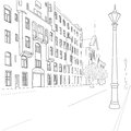 City street outline sketch of european Stock Image