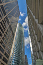 City street and sky scrapers in chicago tall buildings Stock Photo