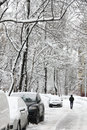 City streets covered snow snowfall moscow Royalty Free Stock Photos