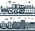 City streets in the dark and whites colors illustration Stock Image