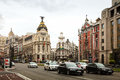 City streets in madrid spain april april spain crossing the calle de alcala and gran via most important avenues of Royalty Free Stock Photos