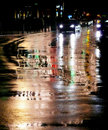 City streets in rain Royalty Free Stock Photo