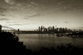 City of sydney with harbour bridge black and white australia Stock Photos