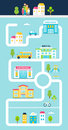City or Town Facilities Infographics Road Map Style Template