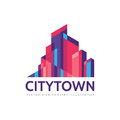 City town - real estate logo template concept illustration. Abstract building cityscape sign. Skyscrapers icon. Design element Royalty Free Stock Photo