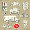 City Traffic Icons Royalty Free Stock Photo