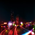 CITY TRAFFIC AT NIGHT Stock Photography