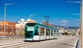 City tram going over the bridge barcelona spain Stock Photos