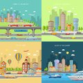 City transpot design concept set transport with urban and suburban house buildings flat icons isolated vector illustration Stock Photography