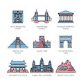 City travel landmarks of Europe, Asia and America