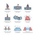 City travel landmarks of United States of America