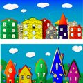 City two cartoon images can be use as backgrounds banners design element vector eps Stock Images
