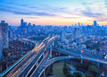 City viaduct junction at dawn in sunrise shanghai Stock Images
