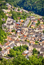 The city of vianden luxembourg aerial view small in surrounded by trees and greenery Royalty Free Stock Image