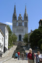 City view of Angers with historic cathedral Royalty Free Stock Photo