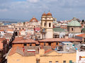 City view cagliari with ancient buildings and a church italy Stock Photos