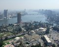City view of cairo from gezira misty aerial in egypt seen it includes the nile river in sunny ambiance Royalty Free Stock Photography